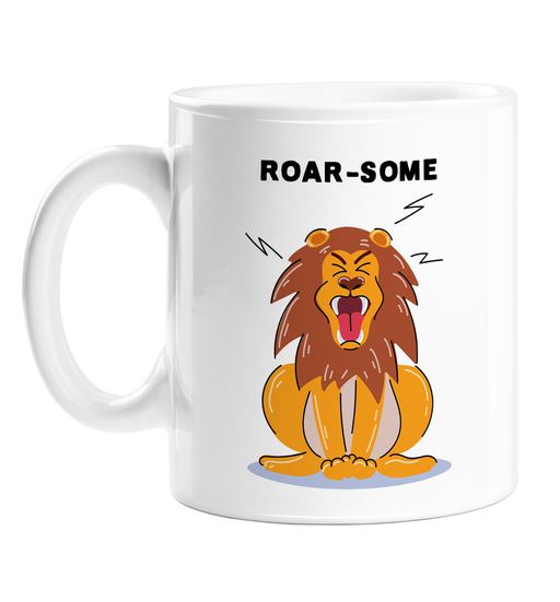 Roar-some Mug | Funny Lion Pun Coffee Mug, Male Lion With Mane Roaring Illustration, Animal Pun, Awesome, Roar