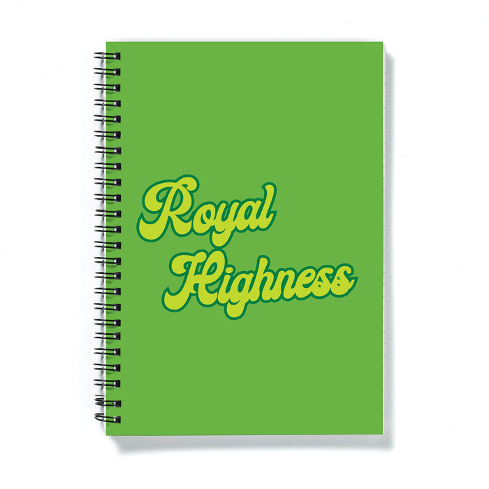 Royal Highness A5 Notebook | Weed Journal, Funny Gift For Weed Smoker, Stoner, Cannabis, Marijuana, Hash, Ganja, Pot