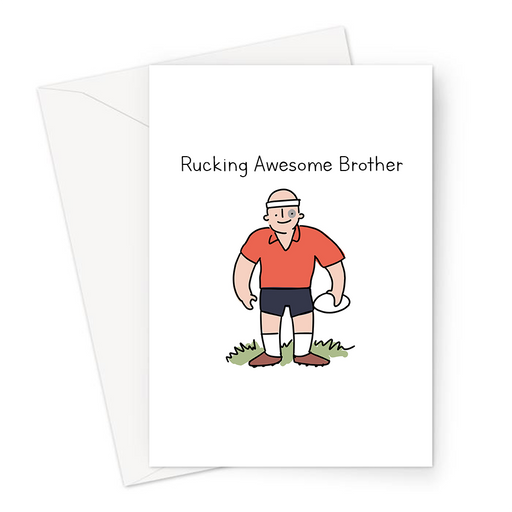 Rucking Awesome Brother Greeting Card | Funny Rugby Birthday Card For Rugby Player Brother, Sibling, Six Nations, Rugby League, Burly Rugby Player