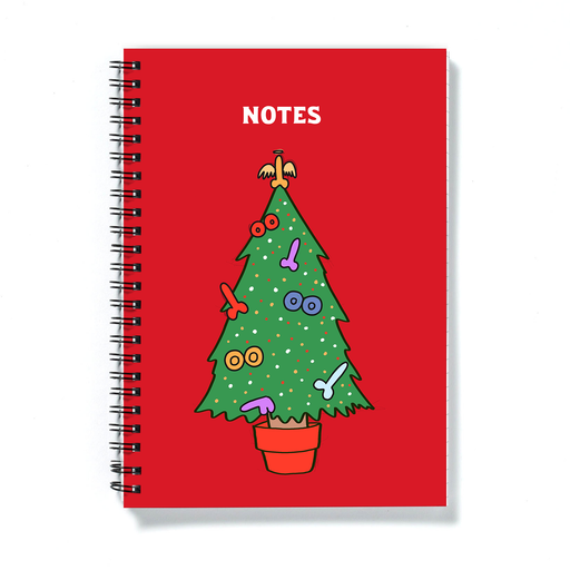 Rude Christmas Tree Merry Christmas A5 Notebook | Funny Christmas Journal, Cheeky Stocking Filler, Gift, LGBT, Dildo And Boobs On Christmas Tree
