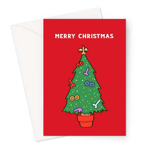 Rude Christmas Tree Merry Christmas Greeting Card | Rude, Funny Christmas Tree Decorated With Dicks And Boobs Christmas Card, LGBT