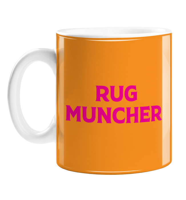 Rug Muncher Mug | LGBTQ+, LGBT Gifts For Lesbian, Pop Art, Pink, Orange