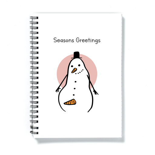 Seasons Greetings Snowman Erection A5 Notebook | Rude, Funny Christmas Gift, Stocking Filler, Snowman With Carrot Erection Doodle, Journal, Diary