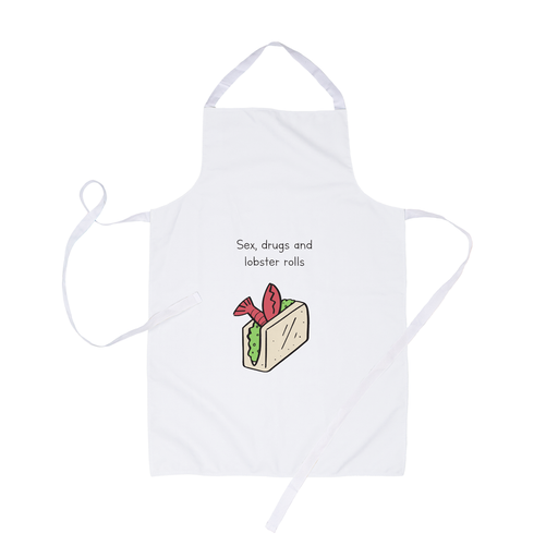 Sex Drugs And Lobster Rolls Apron | Sex Drugs And Rock n Roll Pun, Stoner Apron, Funny Doodle Apron, Funny Gift For Him, For Her
