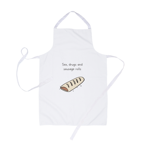 Sex Drugs And Sausage Rolls Apron | Sex Drugs And Rock n Roll Pun, Stoner Apron, Funny Doodle Apron, Funny Gift For Him, For Her
