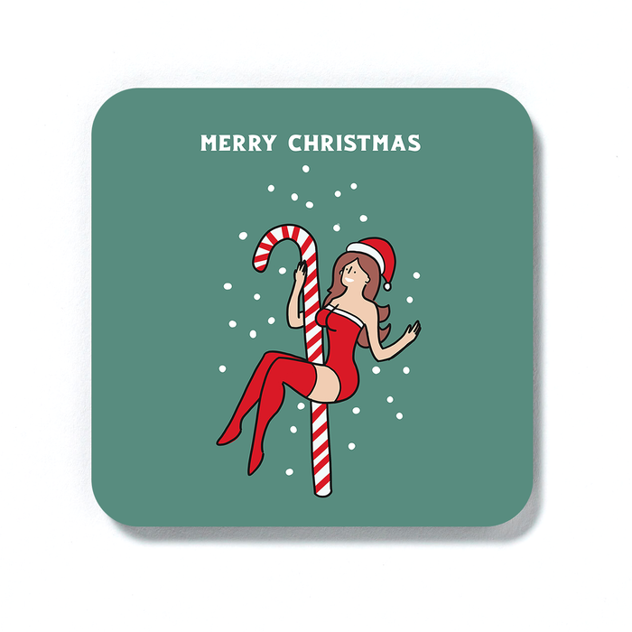 Sexy Female Santa Merry Christmas Coaster | Funny Christmas Drinks Mat, Cheeky Decorations, Stocking Filler, LGBT, Sexy Girl In Santa Hat Pole Dancing On A Candy Cane