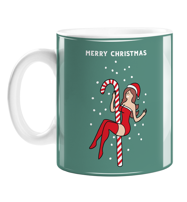 Sexy Female Santa Merry Christmas Mug | Funny, Naughty Christmas Gift, Stocking Filler, LGBT, Sexy Girl In Santa Hat Pole Dancing On A Candy Cane