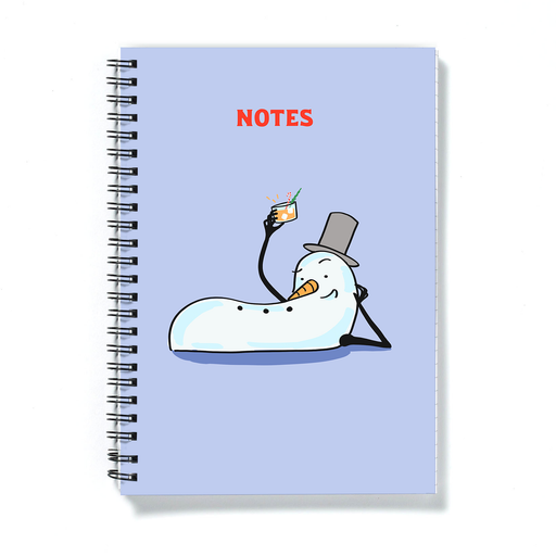 Sexy Snowman Seasons Greetings A5 Notebook | Funny Christmas Gift, Diary, Stocking Filler, Journal, Snowman Laying Down With Drink In Hand