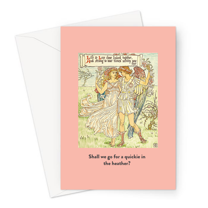 Shall We Go For A Quickie In The Heather? Greeting Card | Vintage Valentine's Card, Anniversary, Man And Woman Embracing, Angel, Sex Joke, Rhyme