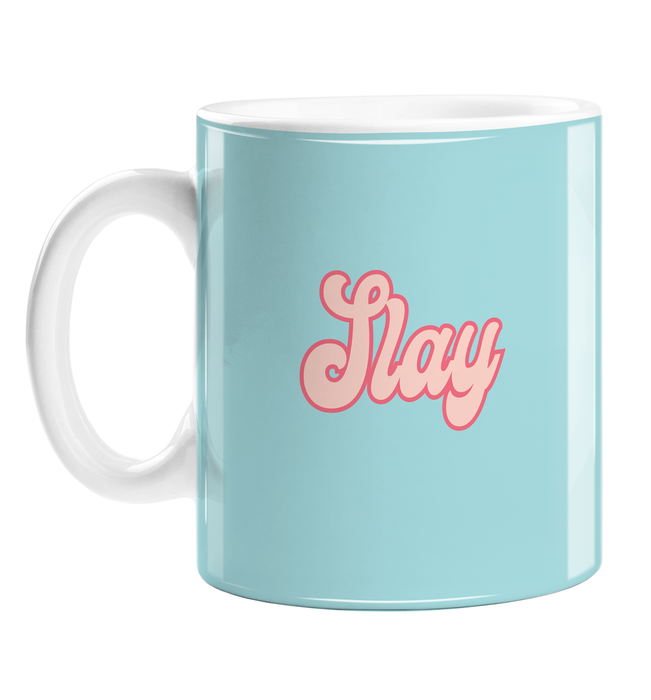 Slay Mug | Hype Gift For Friend, LGBTQ+, LGBT, Slay Queen, Slay All Day, Groovy Seventies Style Font