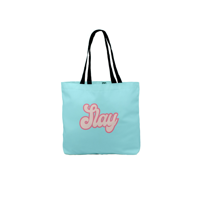 Slay Tote | Colourful Canvas Shopping Bag, Beach, Travel, Groovy Seventies Font, Slay All Day, Slay Queen