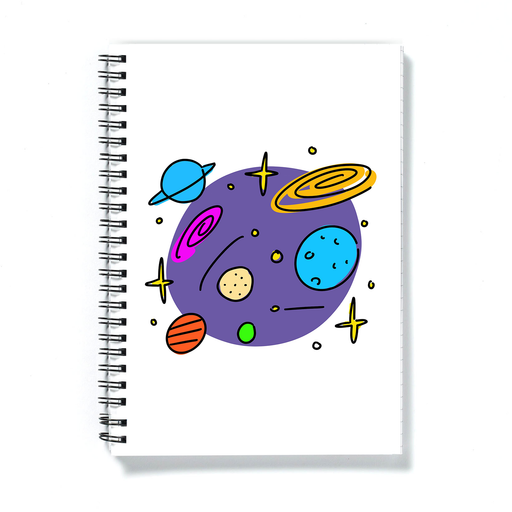 Space Print A5 Notebook | Outer Space Pattern Notepad, Milkyway, Galaxy, Earth, Neptune, Mars, Venus, Planets, Stars, Astronomy Journal