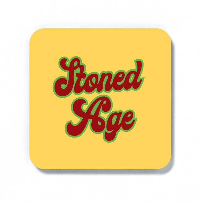 Stoned Age Coaster | Weed Drinks Mat, Gift For Stoner, Weed Smoker, Cannabis, Marijuana, Hash, Pot, Ganja, Stone Age Pun