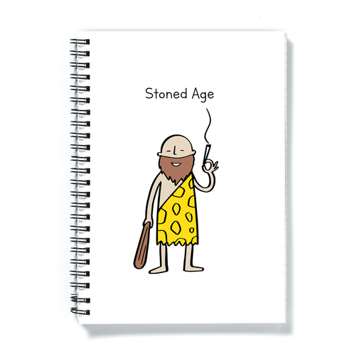 Stoned Age Doodle A5 Notebook | Weed Journal, Diary, Stone Age Pun Gift For Stoner, Weed Smoker, Caveman, Cannabis, Marijuana, Hash, Ganja, Pot