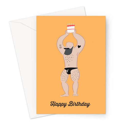 Strong Man Happy Birthday Greeting Card | Naked Man Birthday Card, Tattooed Man Card, Buff Man Card, Birthday Card For Gay Man, LGBTQ+ Card