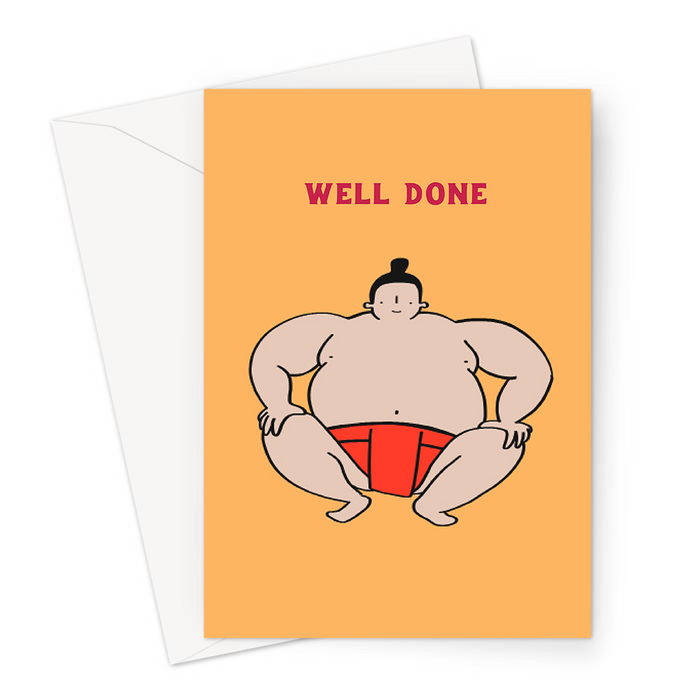 Sumo Wrestler Well Done Greeting Card | Sumo Wrestler Congratulations Card, Exams, Graduation, Passed Driving Test, New Job