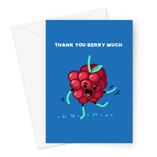 Thank You Berry Much Greeting Card | Funny Berry Pun Thank You Card, Thanks, Cheers, Thank You Very Much, Smiling Happy Raspberry