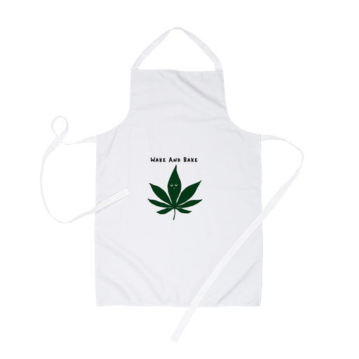 Wake And Bake Apron | Stoner Apron For Baker, 420 Gift, Weed, Marijuana, Dope, Baking, Cannabis Leaf Illustration