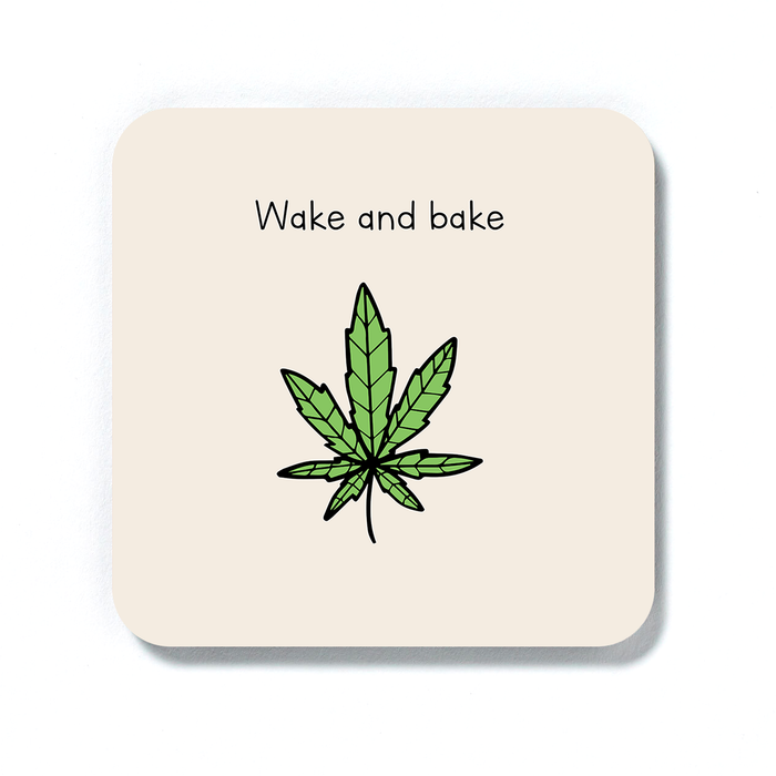 Wake And Bake Coaster | Weed Drinks Mat, Housewarming Gift For Stoner Baker, Weed Smoker, Hash, Ganja, Pot, Cannabis, Marijuana