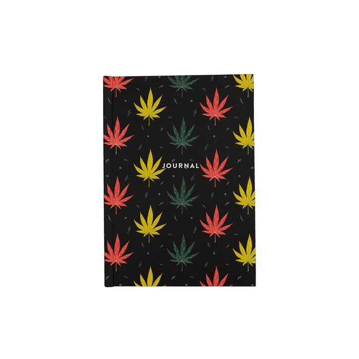 Weed Illustration A5 Journal | Cannabis Leaf Illustration In Red, Green & Yellow, Hand Illustrated Fine Art Marijuana Leaves, Dope Journal, Hash, 420