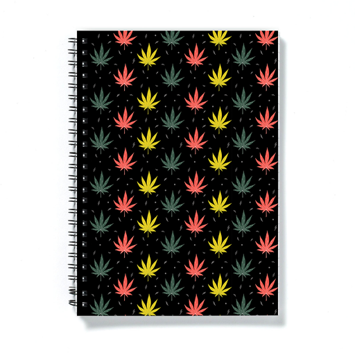 Weed Illustration A5 Notebook | Cannabis Leaf Illustration In Black, Green, Yellow and Red, Hand Illustrated Fine Art Marijuana Leaves, Dope Journal