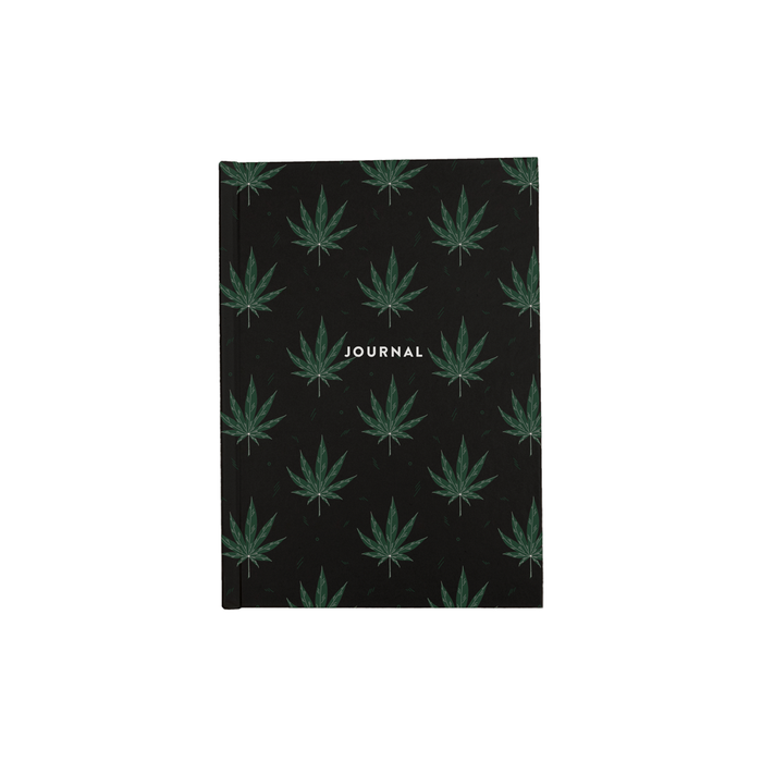 Weed Illustration Black A5 Journal | Cannabis Leaf Illustration, Hand Illustrated Fine Art Marijuana Leaves, Dope Journal, Ganja, Hash, 420