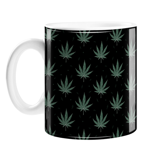 Weed Illustration Black Mug | Cannabis Leaf Illustration, Hand Illustrated Fine Art Marijuana Leaves, Dope Coffee Mug, Ganja, Hash, 420