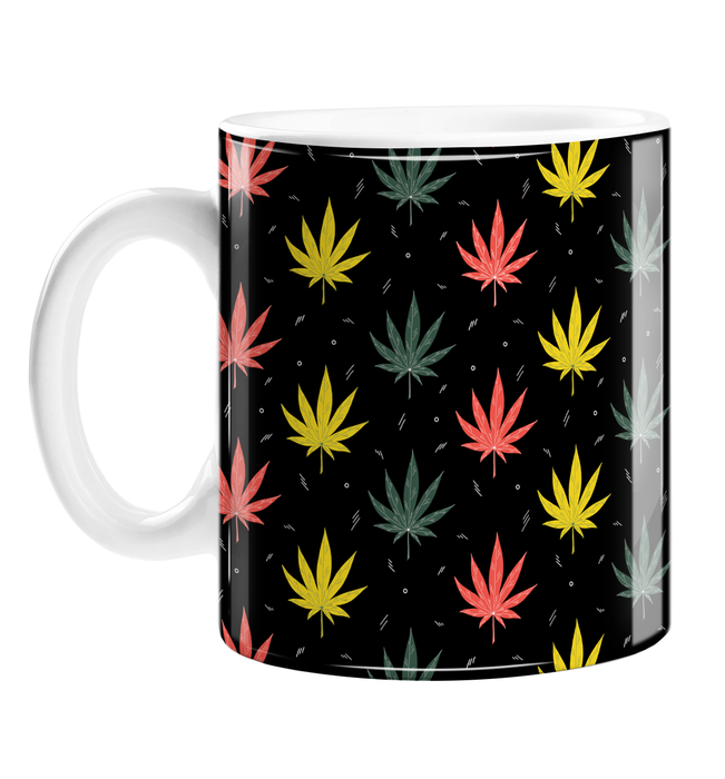 Weed Illustration Mug | Cannabis Leaf Illustration, Hand Illustrated Fine Art Marijuana Leaves In Red, Green & Yellow, Dope Coffee Mug, Ganja, Hash, 420