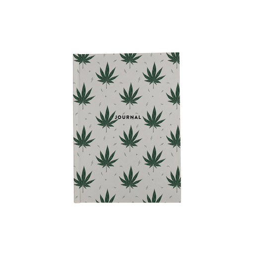 Weed Illustration White A5 Journal | Cannabis Leaf Illustration, Hand Illustrated Fine Art Marijuana Leaves, Dope Journal, Ganja, Hash, 420
