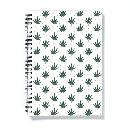 Weed Illustration White A5 Notebook | Cannabis Leaf Illustration, Hand Illustrated Fine Art Marijuana Leaves, Dope Journal, Ganja, Hash, 420