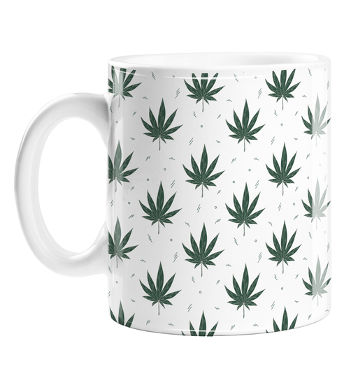 Weed Illustration White Mug | Cannabis Leaf Illustration, Hand Illustrated Fine Art Marijuana Leaves, Dope Coffee Mug, Ganja, Hash, 420