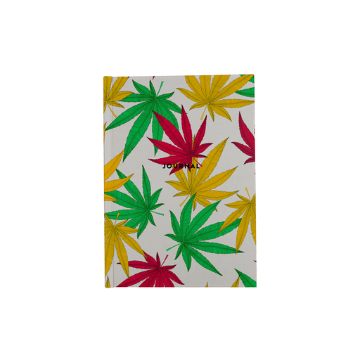 Weed Print A5 Journal | Cannabis Leaf Illustration In Green, Red & Yellow, Hand Illustrated Fine Art Marijuana Leaves, Colourful Diary