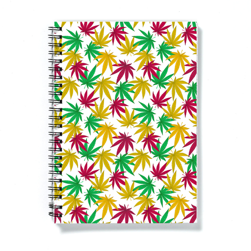 Weed Print A5 Notebook | Cannabis Leaf Illustration In Green, Red & Yellow, Hand Illustrated Fine Art Marijuana Leaves, Colourful Journal