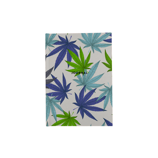 Weed Print Blue A5 Journal | Cannabis Leaf Illustration In Blues, Green & Grey, Hand Illustrated Fine Art Marijuana Leaves, Colourful Diary