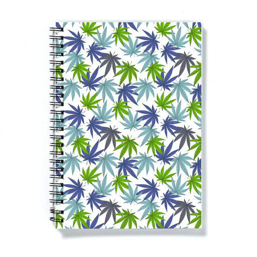 Weed Print Blue A5 Notebook | Cannabis Leaf Illustration In Blues, Green & Grey, Hand Illustrated Fine Art Marijuana Leaves, Colourful Journal