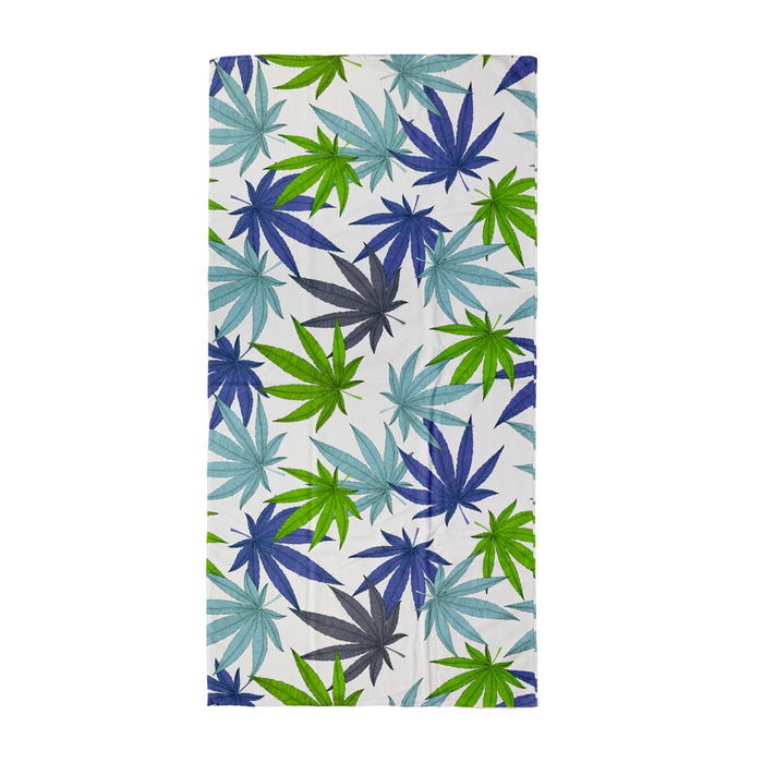 Weed Print Blue Beach Towel | Cannabis Leaf Illustration In Blues, Green & Grey, Hand Illustrated Fine Art Marijuana Leaves, Colourful Towel