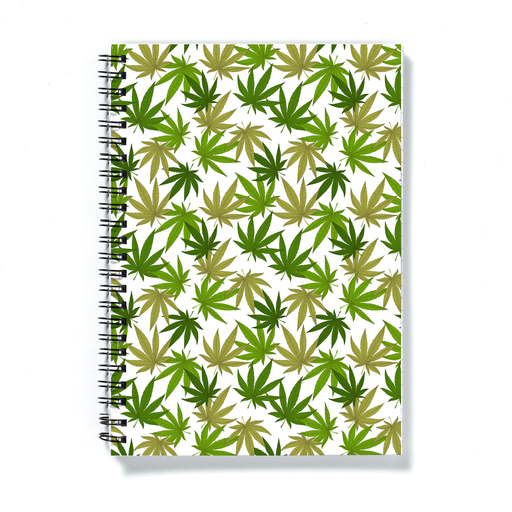 Weed Print Green A5 Notebook | Cannabis Leaf Illustration In Greens, Hand Illustrated Fine Art Marijuana Leaves, Colourful Journal
