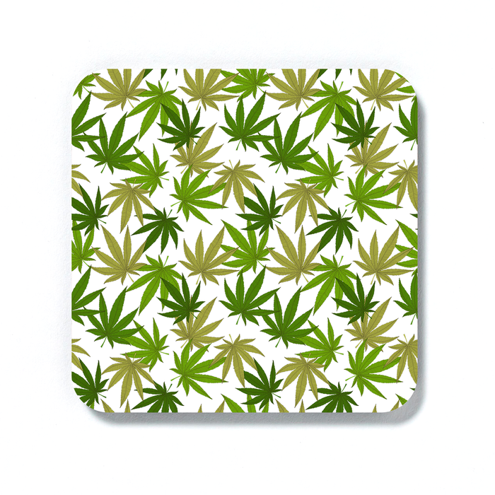 Weed Print Green Coaster | Cannabis Leaf Illustration In Greens, Hand Illustrated Fine Art Marijuana Leaves, Colourful Drinks Mat