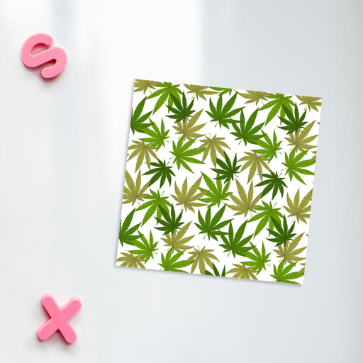 Weed Print Green Fridge Magnet | Cannabis Leaf Illustration In Greens, Hand Illustrated Fine Art Marijuana Leaves, Colourful Kitchen Magnet