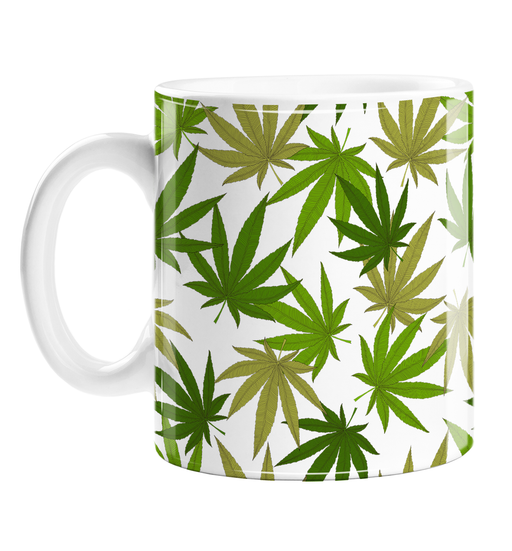 Weed Print Green Mug | Cannabis Leaf Illustration In Greens, Hand Illustrated Fine Art Marijuana Leaves, Colourful Coffee Mug