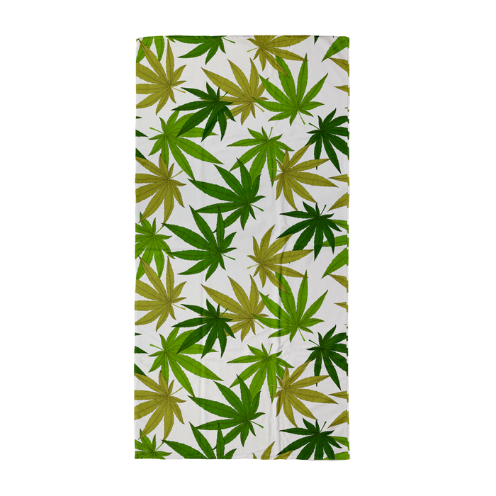 Weed Print Green Beach Towel | Cannabis Leaf Illustration In Greens, Hand Illustrated Fine Art Marijuana Leaves, Colourful Towel