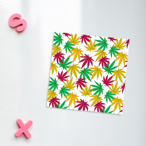 Weed Print Fridge Magnet | Cannabis Leaf Illustration In Red, Green & Yellow, Hand Illustrated Fine Art Marijuana Leaves, Colourful Kitchen Magnet