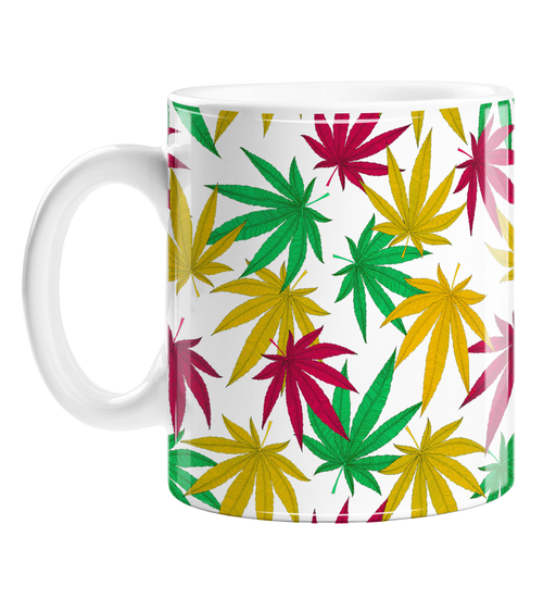 Weed Print Mug | Cannabis Leaf Illustration In Green, Red & Yellow, Hand Illustrated Fine Art Marijuana Leaves, Colourful Coffee Mug