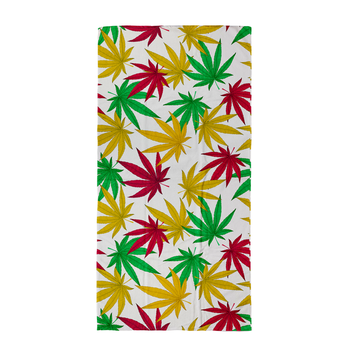 Weed Print Beach Towel | Cannabis Leaf Illustration In Green, Red & Yellow, Hand Illustrated Fine Art Marijuana Leaves, Colourful Towel