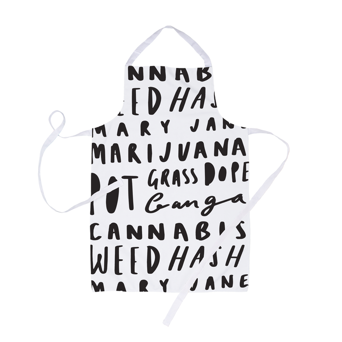 Weed Word Art Apron | Weed Synonym Stoner Apron, Funny Gift For Stoners, Weed Smokers, Cannabis, Ganja, Pot, Hash, Grass, Dope, Marijuana