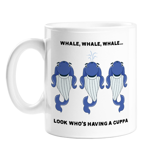 Whale, Whale, Whale... Look Who's Having A Cuppa Mug | Funny Whale Pun Coffee Mug, Three Judgemental Blue Whales, Well Well Well