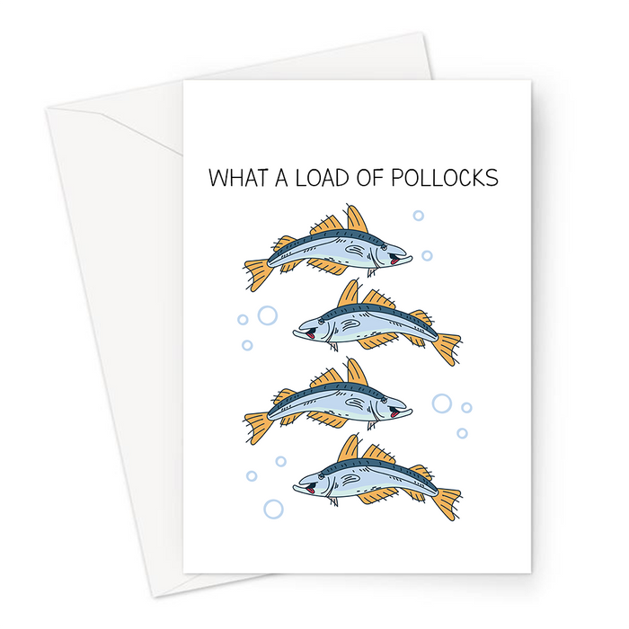 What A Load Of Pollocks Greeting Card | Funny Sympathy Card, Group Of Pollocks Illustration, Fish Pun, Break Up And Divorce, Sorry