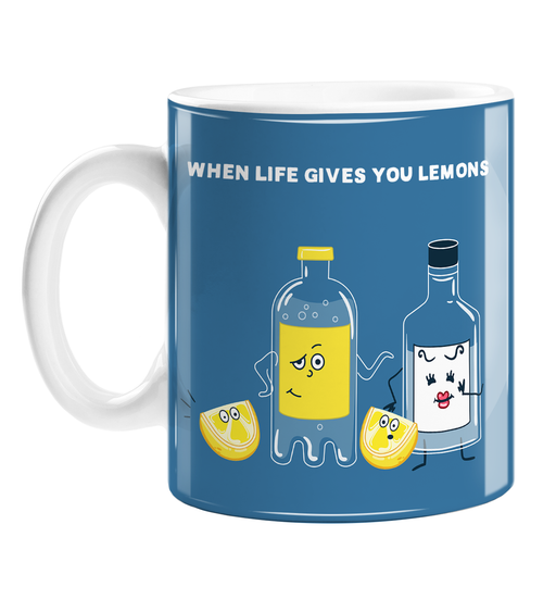 When Life Gives You Lemons Mug | Funny Sympathy Gift, Lost Job, Failed Exam, Breakup, Divorce, Bottle Of Gin, Bottle Of Tonic, G&T, Gin Joke