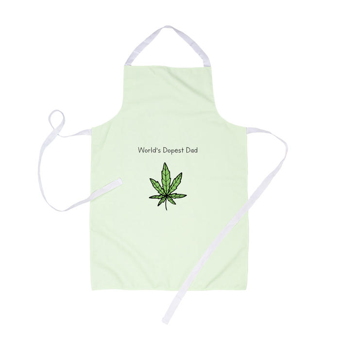 World's Dopest Dad Apron | Stoner Apron For Dad, Father's Day Gift, Weed, Dope, Marijuana, Hand Illustrated Cannabis Leaf
