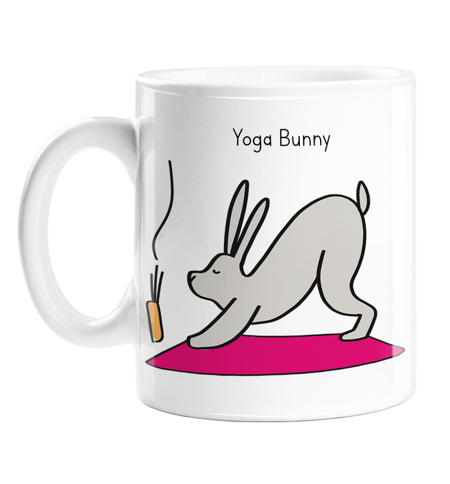 Yoga Bunny Mug | Rabbit Doing Yoga In Downward Dog Ceramic Mug, For Yogi, Yoga Lover, Namaste, Meditation